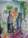Wild garden still life- pastel,ink on paper                 $150