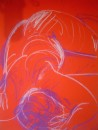 Red nude lying down - pastel on paper $200 unframed 640X460