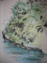 Rock islands Palau - ink, pastel       $100