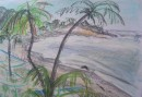 Paradise beach $300 pastel on paper 420X560 white frame 2cm all round