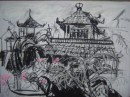 Oriental rooftops with pink blossoms - pastel on paper                                  $200