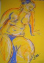 Girl leaning away from chair - pastel on paper $200 unframed 640X460