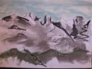 Mt Kinabalu - pastel and ink