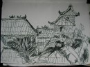 Balinese rooftops - ink on paper $100 270X400 unframed