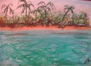 Cocos - acrylic,pastel on paper           $250