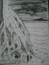 pen drawing sister islands - Storm approaching