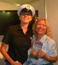 Love the uniform! Rochelle drumming up membership for Santuary Cove Yacht Club