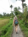 My new hip doing well walking through the rice fields