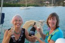 Linda and Lee with lovely Tasmanian champagne flown in the baggage. Lati is behind us