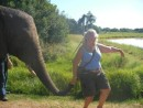 Linda walking Taba elephant
