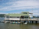 Knysna Yacht Club - see turquoise dinghy?