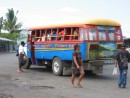 The buses in Samoa are all painted with bright colors and fun designs.  They are also almost always crowded!