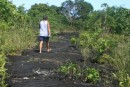 Glen walking up one of the lava flow trails.  Between 1905 and 1911, Mt. Matavanu on Savai