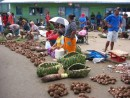 Part of the vegetable market in Apia.  The Samoans LOVE their taro!