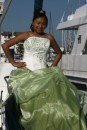 Maria posing for her quincinera pictures aboard The Dorothy Marie!
