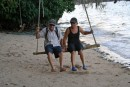 Pete & Debbie.  Swinging At Mafana Island