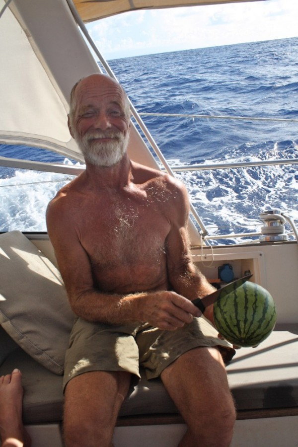 Our celebratory watermelon as we cross the equator