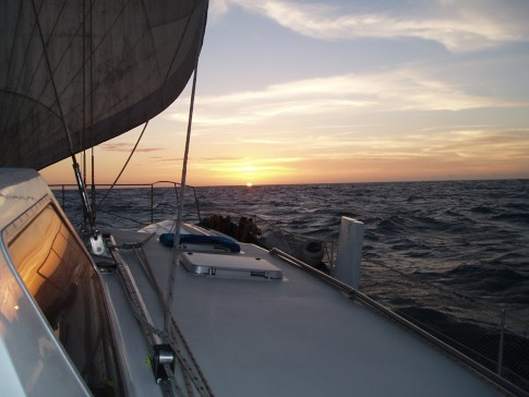 Sailing the Gulf as the sun goes down as we get closer to Cape Wessel