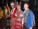 Dianne presented with a woven scarf at Kupang welcome ceremony
