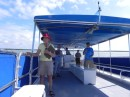 Exploring the mangrove islands on a pontoon boat