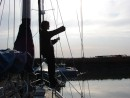 Being a teenager - iPod junkie: Evita chilling after a winter sail