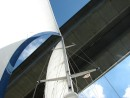 Under the bridge: Sailing underneath the Orwell Bridge