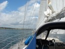 Approaching Orwell Bridge: Orwell bridge - bit of a breeze (25 kts) - genoa only