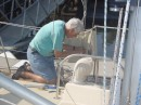 Bill readying the rigging for removing mast