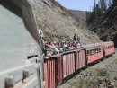 Riding on top of the Train carriage in Equador, Riobamba to Devils Nose.: Riding on top of the Train carriage in Equidor.
