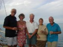 OCC Club Cocktail party at Minerva Reef on route to New Zealand from Tonga, Malc, Lindy, Simon, Carol and Keith.: OCC Club Cocktail party at Minera Reef on route to New Zealand from Tonga