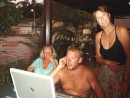Lindy, Mike and Tracy at the cafe come internet area at Rebak Marina, Langkawi: Lindy, Mike and Tracy at the cafe come internet area at Rebak Marina