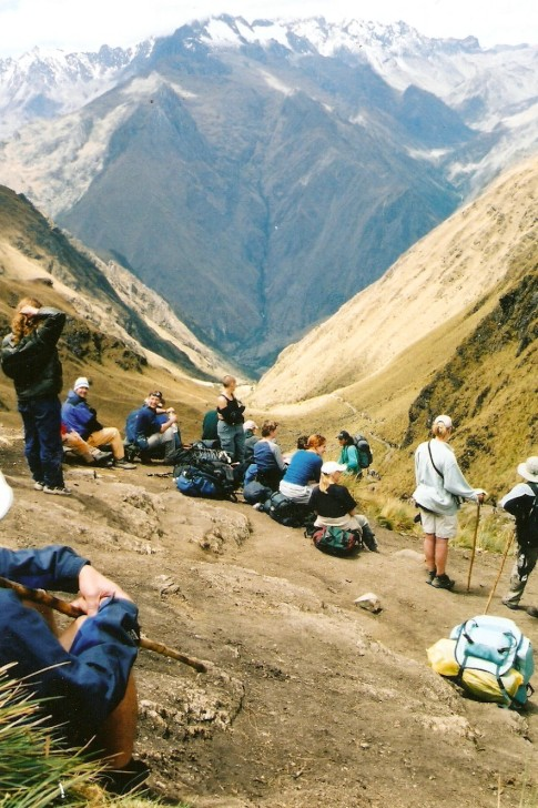 "Left boat in Venezuela, to go to Peru, we walked the Inca Trail to Machu Picchu, this is looking down ""Dead Womans Pass"