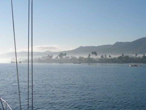 First view of West Timor, early morning though the mist: First view of West Timor, early morning though the mist