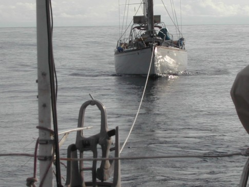 Towing S/V Meriva, got to Wreak Bay, Galapapos Islands, 24 hours later.: Towing S/V Meriva, we entered Wreak Bay, Galapapos Islands, 24 hours later.