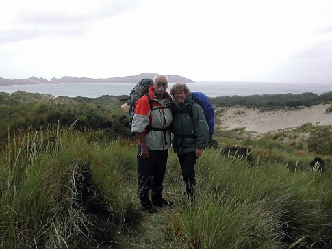 Stewart Island, New Zealand, Hiking was not easy here, I nearly disappeared in a grass bog forever.
