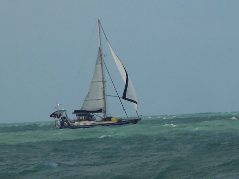 Reefed and running on the north coast of Oz: Reefed and running on the north coast of Oz.