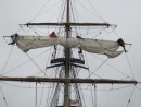 Hawaiian Chieftain crew furling sails