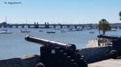 Castillo de San Marcos: 1695 Fort at St. Augustine, Bridge of Lions beyond mooring field